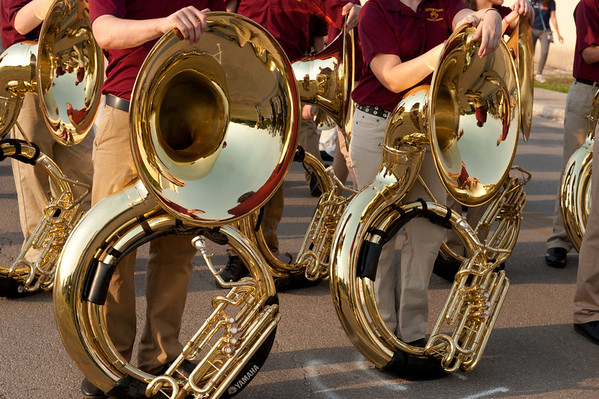 Sousaphones from Dripping Springs High School Band